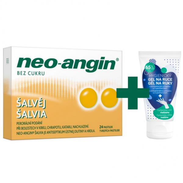 Neo-angin šalvěj pastilky 24 + dárek