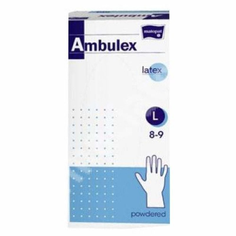 Ambulex rukavice latexov� jemn� pudrovan� L 100ks