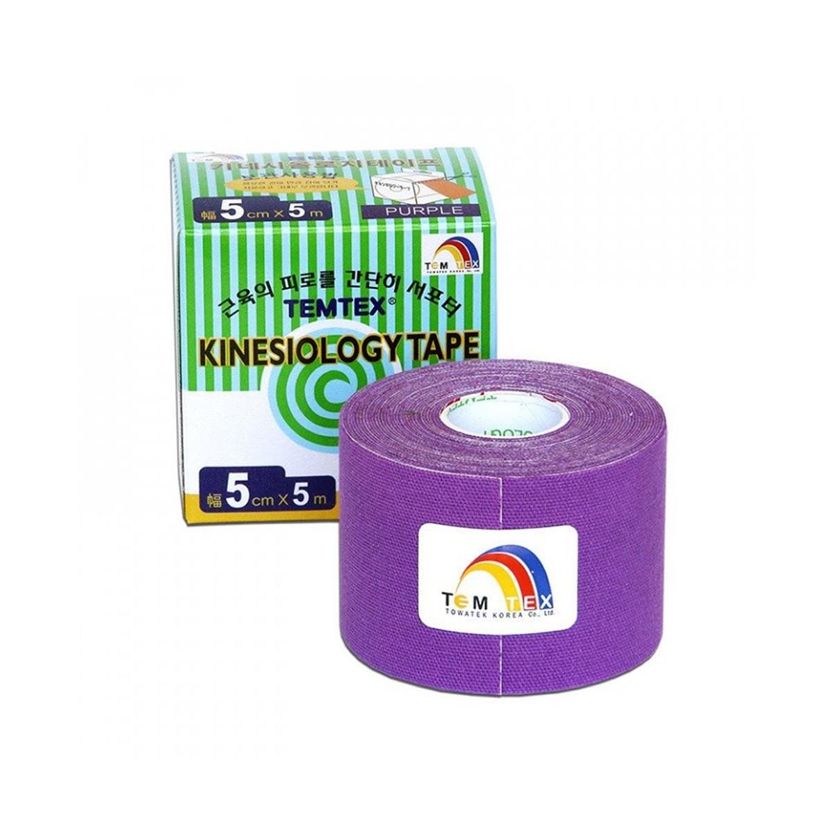 Tejp. TEMTEX kinesio tape fialová 5cmx5m + Ke 2 ks tejpů TEMTEX chladivý-hřejivý polštářek zdarma