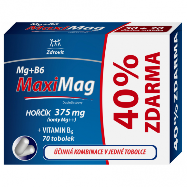 Zdrovit MaxiMag Hořčík 375mg+B6 40% ZDARMA 70 tobolek