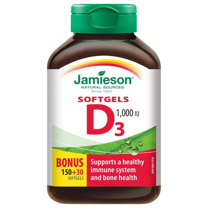 JAMIESON Vitamín D3 1000 IU cps.180