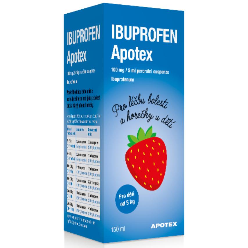Ibuprofen Apotex 100mg-5ml por.sus. 1x150ml
