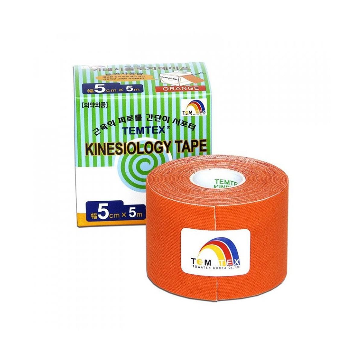Tejp. TEMTEX kinesio tape oranžová 5cmx5m + Kupte 2 libovolné tejpy Temtex a získejte 2M posilovací gumu
