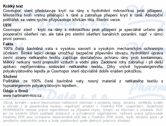 Informace o produktu Rychloobvaz COSMOPOR steril.7.2x5cm/1ks