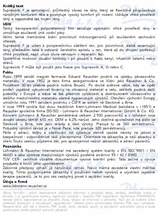 Informace o produktu Krytí Suprasorb F fóliové transpar.5x7cm/10ks