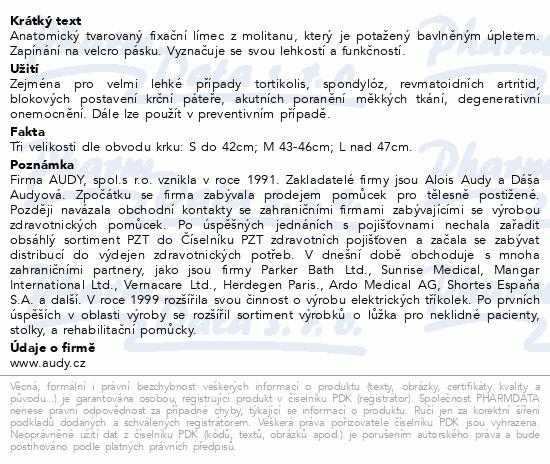 Informace o produktu Límec anatomický fix. krční v.10cm vel.M 43-46cm
