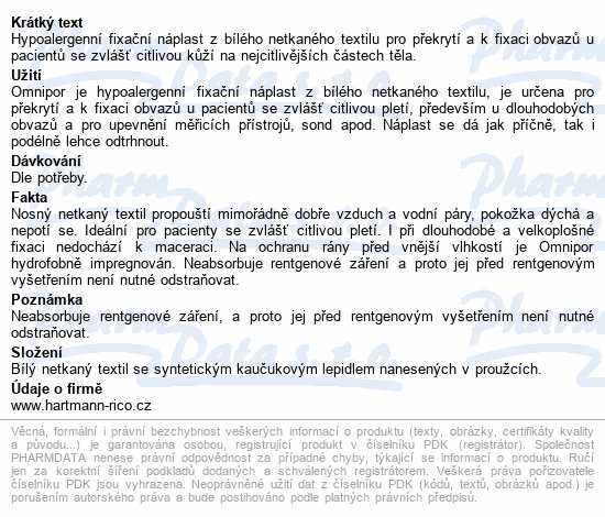 Informace o produktu Náplast Omnipor netkaný textil 2.5cmx5m 1ks