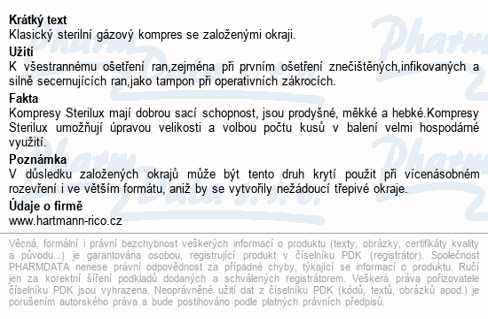 Informace o produktu Gáza kompr.ster.STERILUX 5x5cm 8vrs.25x2ks