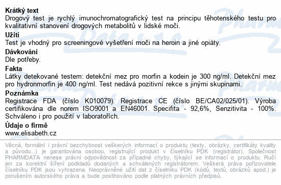 Informace o produktu Drogový test MOR Instant-View 1 ks