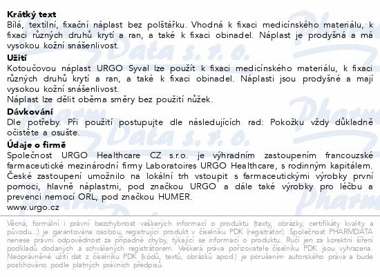 Informace o produktu URGO SYVAL Textilní náplast bílá 5mx2.5cm