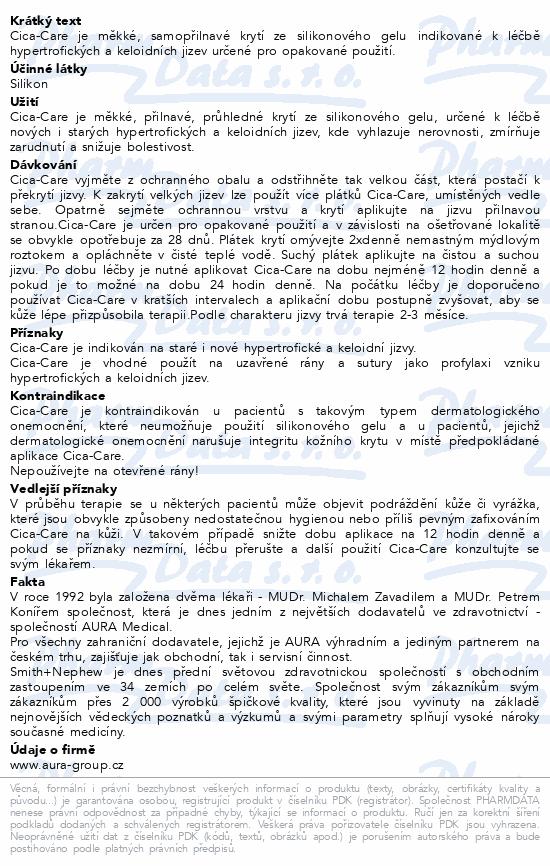 Informace o produktu Krytí Cica-Care na keloid.+hypertr.jizvy 6x12/1ks