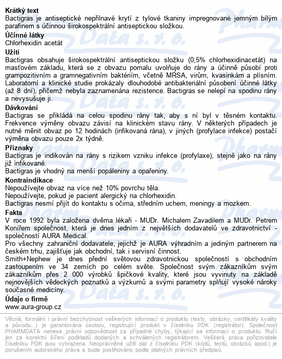 Informace o produktu Krytí Bactigras antisept.s mastí 10x10cm/10ks