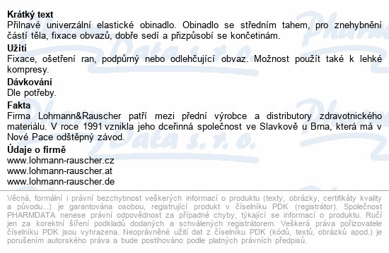 Informace o produktu Obin. elast.Lenkelast střední tah 10cmx5m/1ks