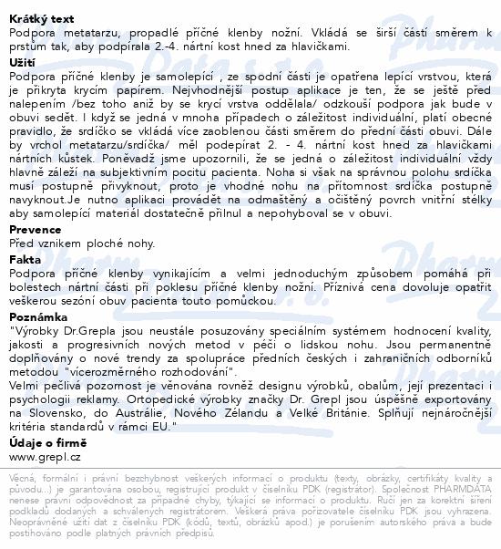 Informace o produktu DR.GREPL Podpora příčné klenby vel.38-41