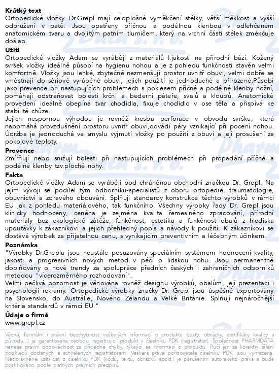 Informace o produktu DR.GREPL Vložky ortop.celkové Adam vel.42