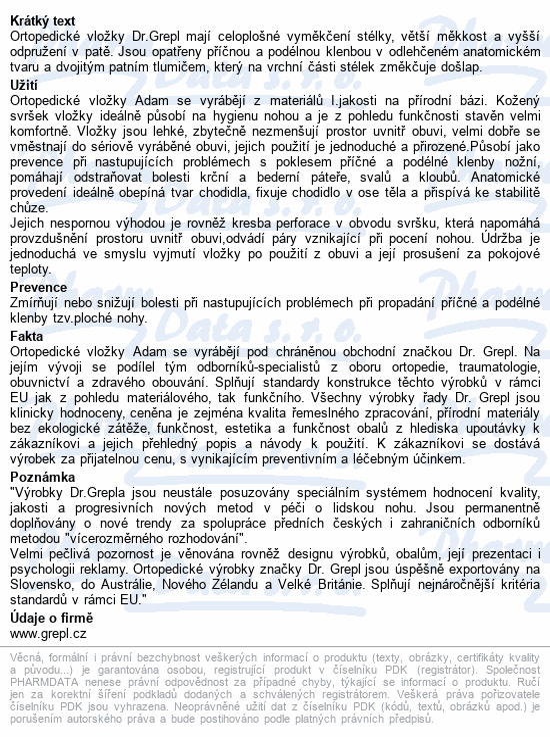 Informace o produktu DR.GREPL Vložky ortop.celkové Adam vel.43