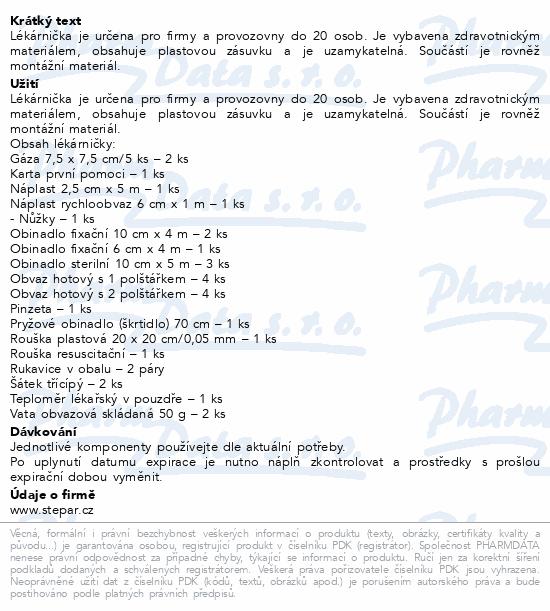 Informace o produktu Lékárnička - nástěn.s náplní do 20osob-ZM20