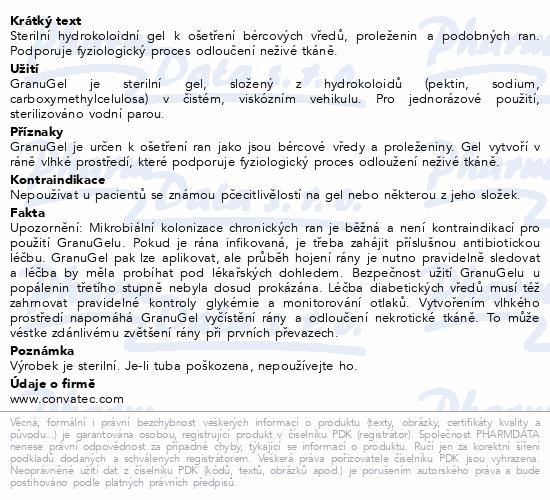 Informace o produktu GranuGEL hydrokoloidní gel 15g