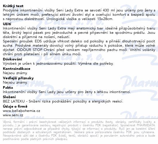 Informace o produktu Seni Lady Extra 15 ks inkontinentní vložky