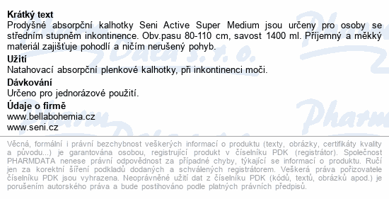 Informace o produktu Seni Active Super Medium 10ks inkont.plenk.kalh.