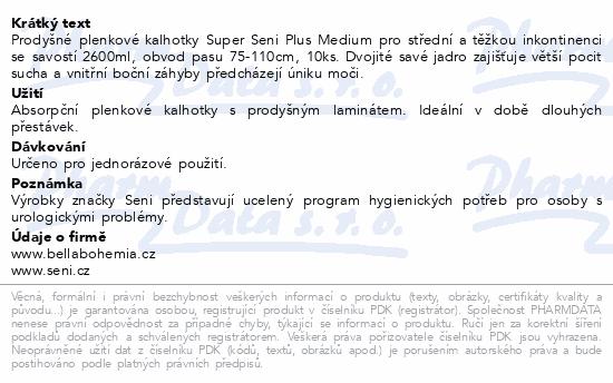 Informace o produktu Seni Super Plus Medium 10ks Noční ink. plen. kalh.