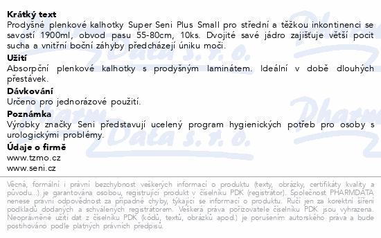 Informace o produktu Seni Super Plus Small 10ks Noční ink. plen. kalh.