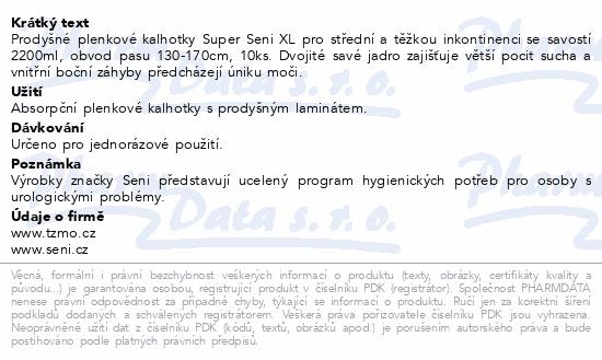 Informace o produktu Seni Super Extra Large 10 ks ink. plen. kalh.