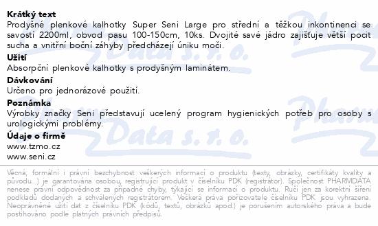 Informace o produktu Seni Super Large 10 ks ink. plen. kalh.