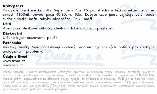 Informace o produktu Seni Super Plus Extra Small 10 ks ink. pl. kalh.