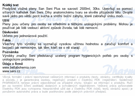 Informace o produktu Seni San Plus 30 ks inkont. vlož. pleny