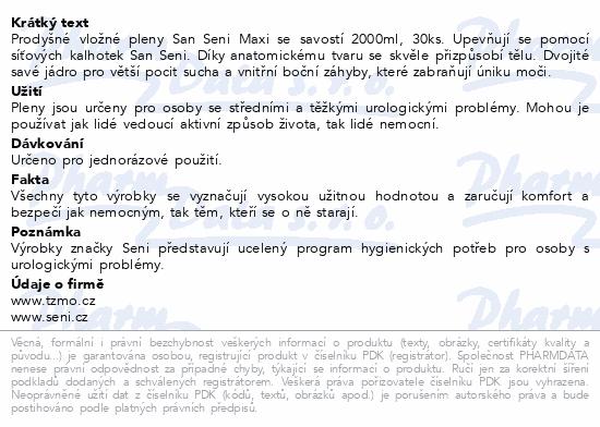 Informace o produktu Seni San Maxi 30 ks inkont. vlož. pleny