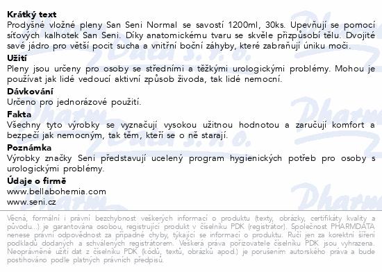 Informace o produktu Seni San Normal 30 ks inkont. vlož. pleny