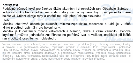 Informace o produktu Krytí Mepilex abs.silik.ster.10x10cm 5ks 294100