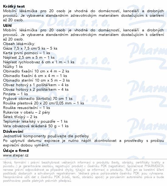 Informace o produktu Lékárnička - nástěnná s výbavou ZM 20 mobilní
