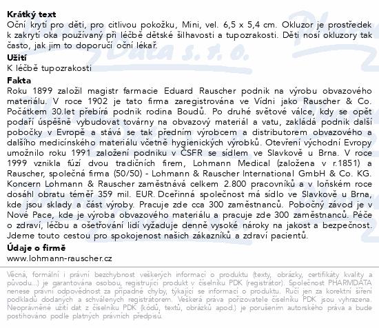 Informace o produktu Okluzor nápl.Pro-ophta Junior Mini 6.5x5.4cm/100ks
