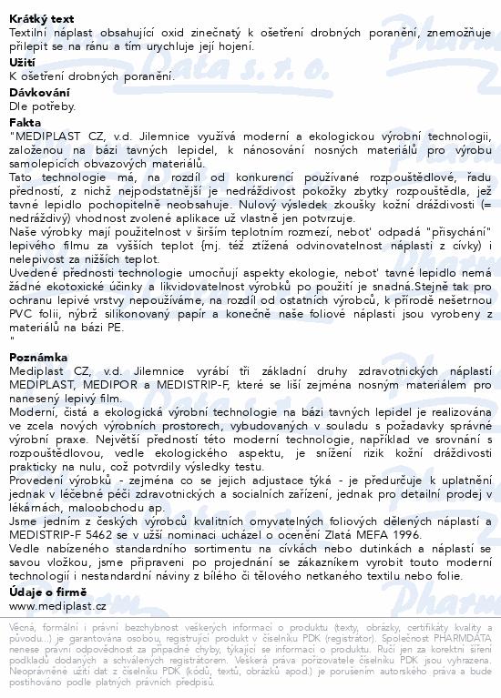 Informace o produktu Rychloobvaz Mediplast 8x4cm 3ks 1482