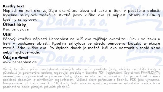 Informace o produktu Hansaplast náplast na kuří oka 8ks č.92873