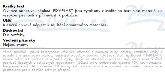 Informace o produktu Náplast Fixaplast cívka 2.5cmx5m