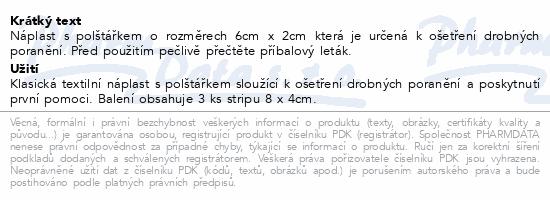 Informace o produktu Náplast Fixaplast strip 8x4cm 3ks