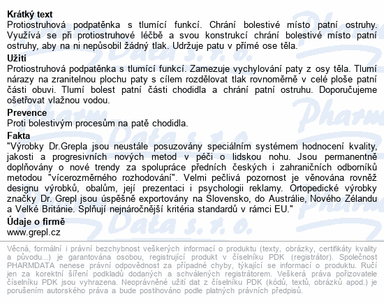 Informace o produktu DR.GREPL Podpatěnka ostruha Gel-line vel.35-40