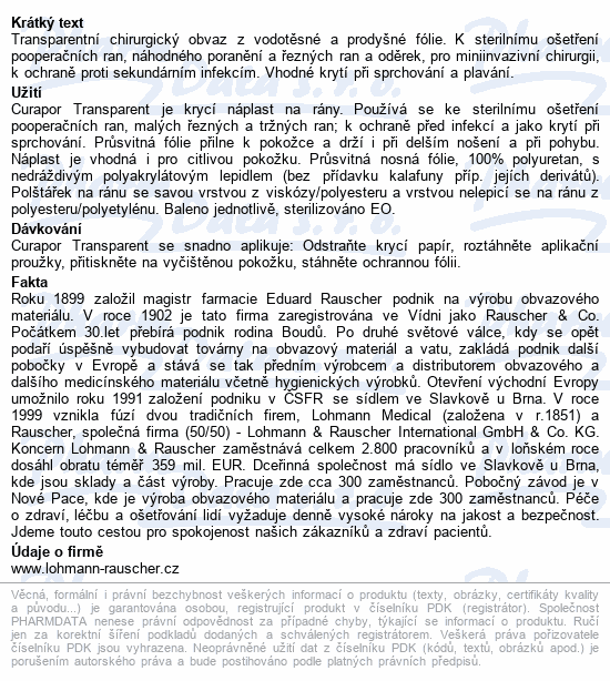 Informace o produktu Náplast Curapor Transparent steril.10x8cm/5ks