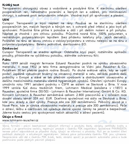 Informace o produktu Náplast Curapor Transparent steril.7x5cm/50ks