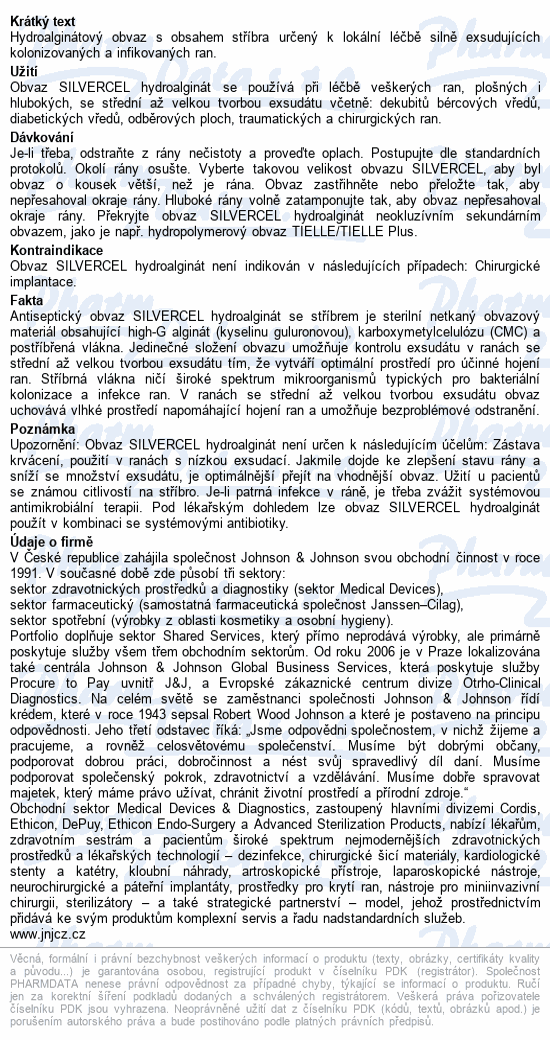 Informace o produktu Krytí Silvercel Hydroalginate 5x5cm 10ks