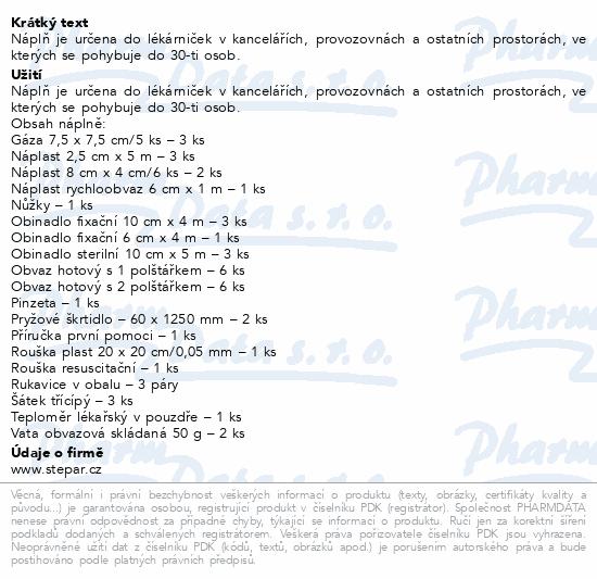 Informace o produktu Lékárnička - nástěnná-výměn.náplň ZM 30-30 osob