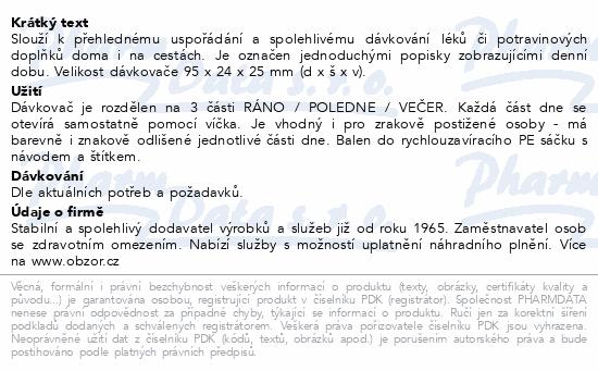 Informace o produktu Dávkovač léků OBZOR typ 03 denní