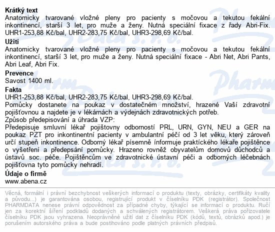 Informace o produktu Inkont.plena Abri San Premium 6. 34ks