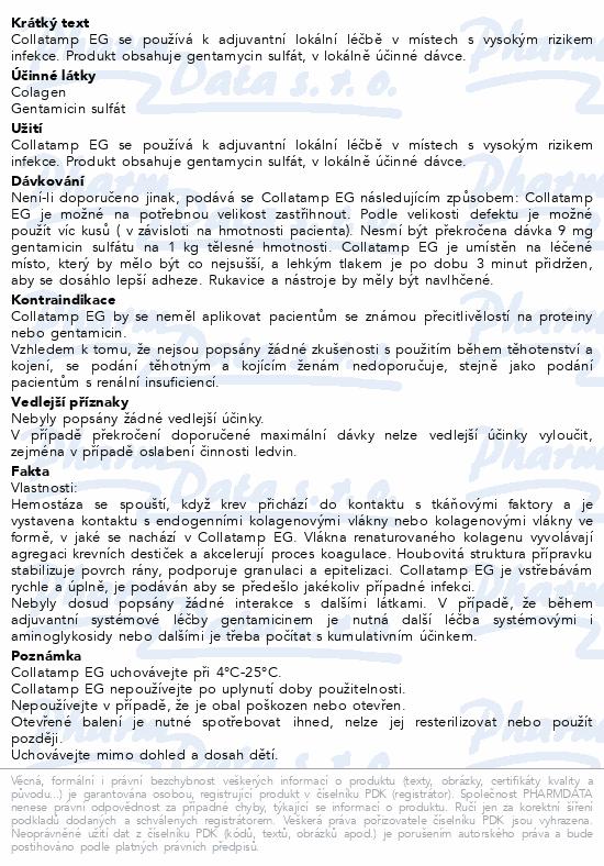 Informace o produktu Collatamp EG 5x5x0.5 50mg Hemostat.kolag.houbička