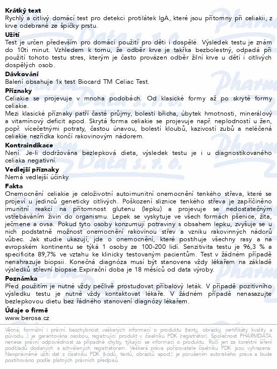 Informace o produktu Biocard TM Celiac test