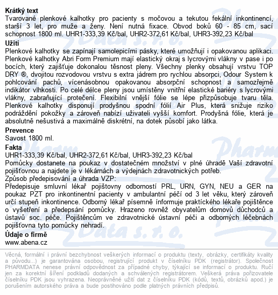 Informace o produktu Inkontinenční kalhotky Abri Form Premium S2. 28ks