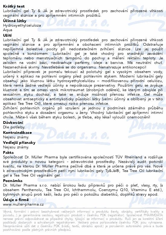 Informace o produktu Lubrik.gel Ty&Já neparfemovaný 100ml Dr.Müller
